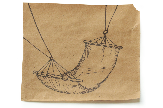 Ink drawing of a hammock on a square of brown paper centered on a white background
