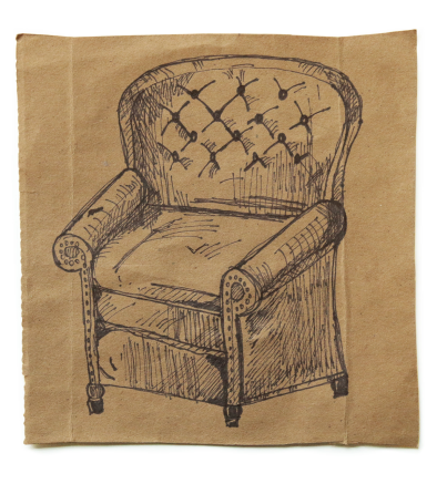 Ink drawing of an armchair on a square of brown paper centered on a white background