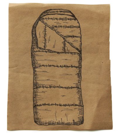Ink drawing of a sleeping bag on a square of brown paper centered on a white background
